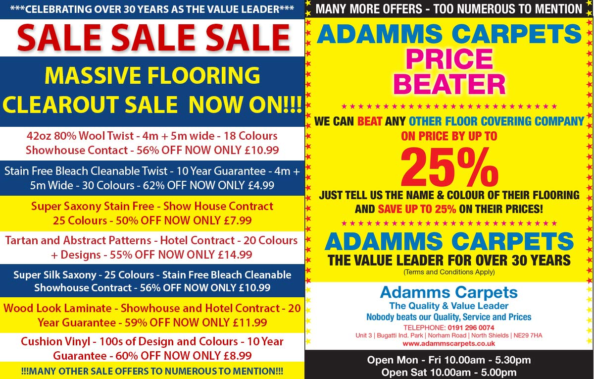 Adamms Carpets Newcastle Latest Offers